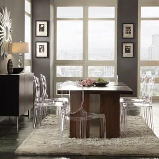 Malden Sleek Chrome and Clear 7-piece Dining Set