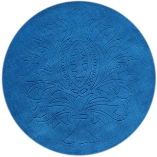 Alliyah Azure Blue 4-foot Round Wool Rug