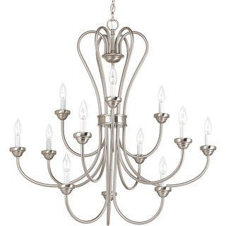Progress Lighting Heart Collection 12-Light 3-Tier Brushed Nickel Chandelier Lighting Fixture