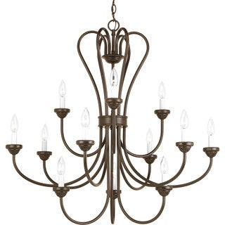 Progress Lighting Heart Collection 12-Light 3-Tier Antique Bronze Chandelier Lighting Fixture