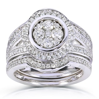 Annello 10k White Gold 7/8ct TDW Round-cut Halo Diamond 3-piece Bridal Ring Set (H-I, I1-I2)