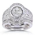 Annello 10k White Gold 7/8ct TDW Round-cut Halo Diamond 3-piece Bridal Ring Set (H-I, I1-I2)