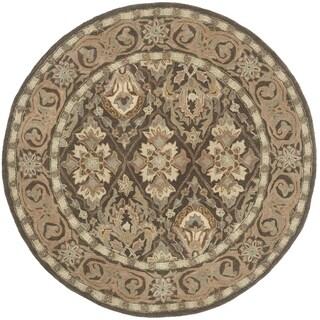 Safavieh Handmade Anatolia Brown/ Beige Wool Rug (6' Round)