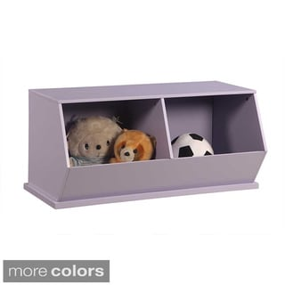Kids' Stackable Wood Double Storage Unit
