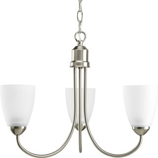 Progress Lighting Gather Collection 3-Light Brushed Nickel Chandelier With Bulb Lighting Fixture