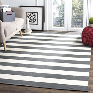 Safavieh Hand-woven Montauk Grey/ White Cotton Rug (6' Square)
