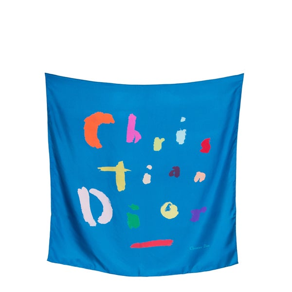 Christian Dior Blue Silk Square Scarf