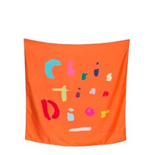 Christian Dior Orange Silk Square Scarf