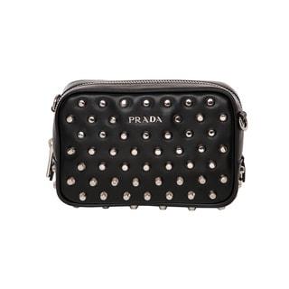 Prada Black Calfskin Studded Crossbody Bag