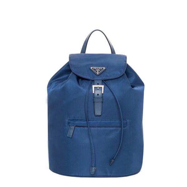 Prada Vela Blue Nylon Backpack - 16558931 - Overstock.com Shopping ...