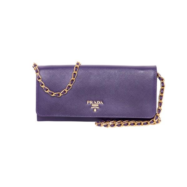 prada satchel - Prada Purple Saffiano Leather Chain Wallet - 16558937 - Overstock ...