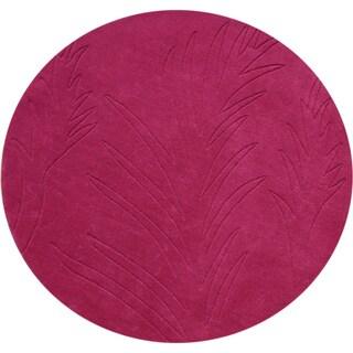 Alliyah 6-foot Round Fuchsia Wool Rug
