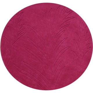 Alliyah Handmade Fuchsia-rose New Zealand Blend Wool Rug (4' x Round)