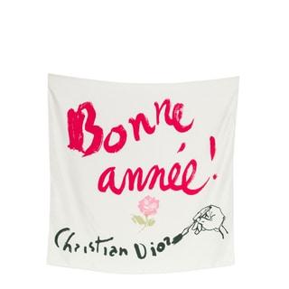 Christian Dior 'Bonne Annee' Silk Square Scarf