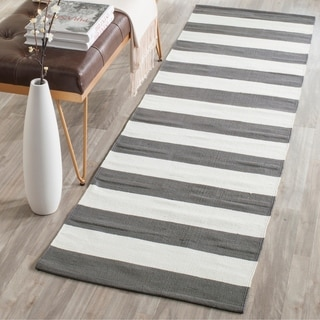 Safavieh Hand-woven Montauk Grey/ White Cotton Rug (2'3 x 7')