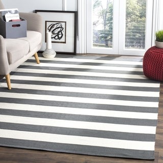 Safavieh Hand-woven Montauk Grey/ White Cotton Rug (4' x 6')