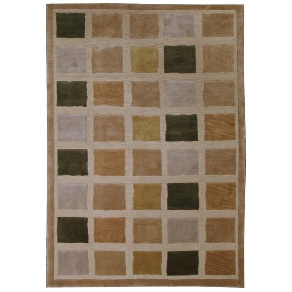 Hand-woven Wool, Burnely Tile Rug (5'7 x 7'10)