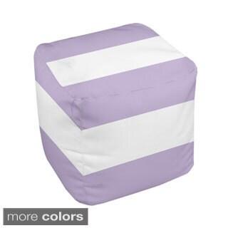 18 x 18-inch Two-tone Purple Multi-stripe Decorative Pouf Ottoman