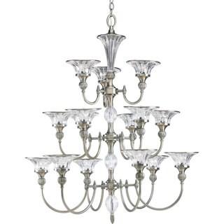 Progress Lighting Roxbury Collection 15-Light 3-Tier Classic Silver Chandelier Lighting Fixture