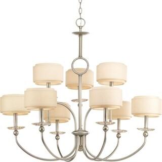 Progress Lighting Ashbury Collection 9-Light 2-Tier Silver Ridge Chandelier Lighting Fixture