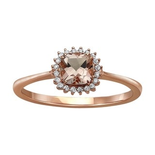 Beverly Hills Charms 10k Rose Gold Morganite and 1/10ct Diamond 'Lady D' Halo Ring (H-I, I2-3)
