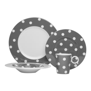 Red Vanilla Freshness Mix & Match Dots 4-piece Grey Place Setting