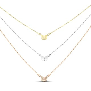 Tri-color Sterling Silver Cubic Zirconia Graduated 3-strand Butterfly Necklace