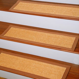 Handcrafted Oscar Natural Fiber Sisal 9 x 29 Carpet Stair Treads (Set of 13)