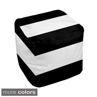 18 x 18-inch Two-tone Stripe Decorative Pouf Ottoman