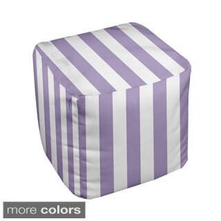 18 x 18-inch Purple Stripe Decorative Pouf Ottoman