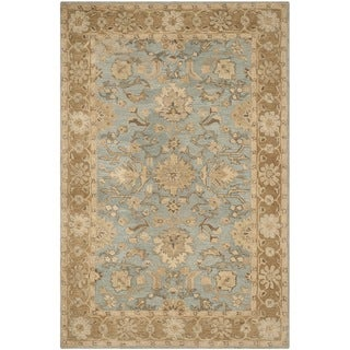 Safavieh Handmade Anatolia Light Blue/ Taupe Wool Rug (6' x 9')