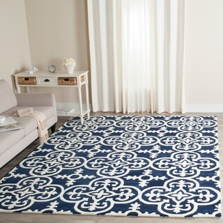 Safavieh Handmade Moroccan Chatham Dark Blue/ Ivory Wool Rug (6' x 9')