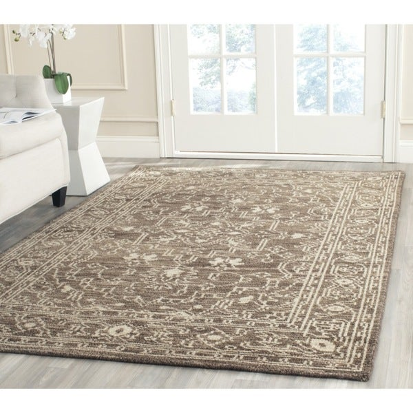 Safavieh Hand-knotted Kenya Brown/ Beige Wool Rug (6' x 9')