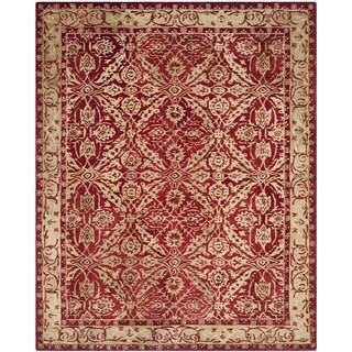 Safavieh Handmade Anatolia Red/ Ivory Wool Rug (6' x 9')