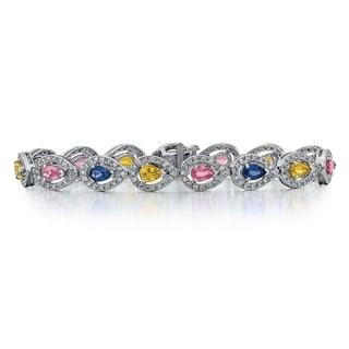 14k White Gold 1 4/5ct TDW Diamond and Multi-color Sapphire Bracelet (G-H, SI1-SI2)