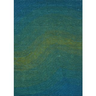 Blue and Green Artistry Waves Rug (5' x 7')