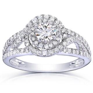 Annello 14k White Gold 7/8ct TDW Round Halo Diamond Engagement Ring (H-I, I1-I2)