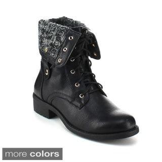 Refresh Women's 'Dason-03' Lace-up Mid-calf Combat Boots