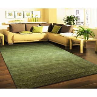 Dark Green and Citrus Artistry Stripes Rug (5' x 7')