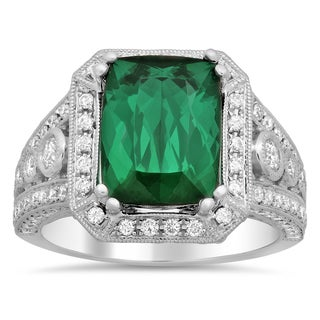 18k White Gold 1ct TDW Round-cut White Diamond Tourmaline Ring (F-G, SI1-SI2)