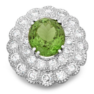 14k White Gold 4 4/5ct TDW Round-cut White Diamond Oval-cut Tourmaline Flower Ring (F-G, SI1-SI2)