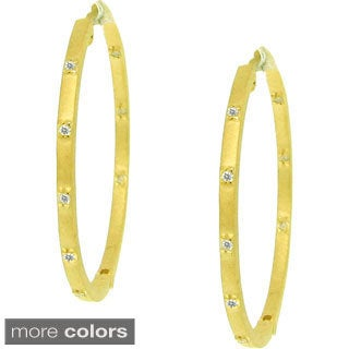 Gioelli Sterling Silver 1/5ct TDW Diamond Hoop Earrings (H-I, I2-I3)