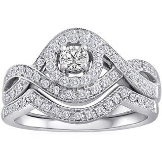 14k White Gold 1/2ct TDW Vintage Braided Diamond Bridal Set (H-I, I2)