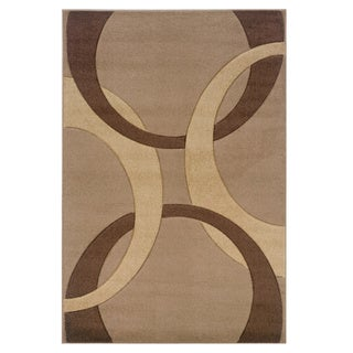 Linon Corfu Collection Tan and Brown Area Rug (8' x 10'3)