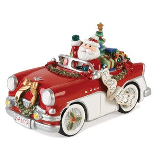 Fitz and Floyd Merry and Bright Santa in Car Musical