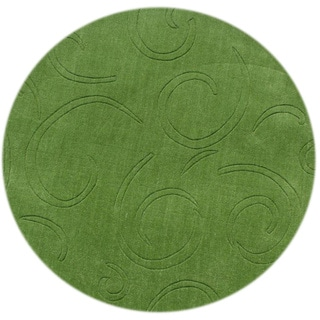 Alliyah Hand-loomed Turf Green New Zeeland Wool Rug (4' Round)