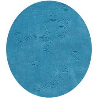 Alliyah Hand-loomed River Blue New Zealand Wool Rug (4' Round)