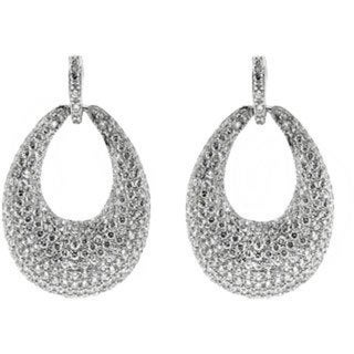 Gioelli Sterling Silver Micro Pave Cubic Zirconia Oval Dangle Earrings