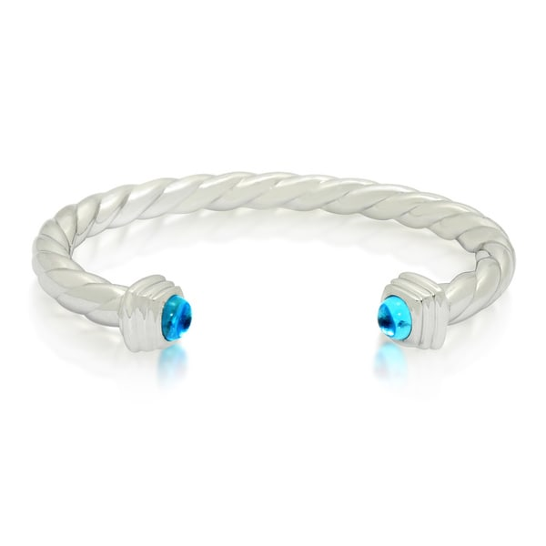 Gioelli Sterling Silver Swiss Blue Topaz Cabochon Twisted Cuff Bangle Bracelet