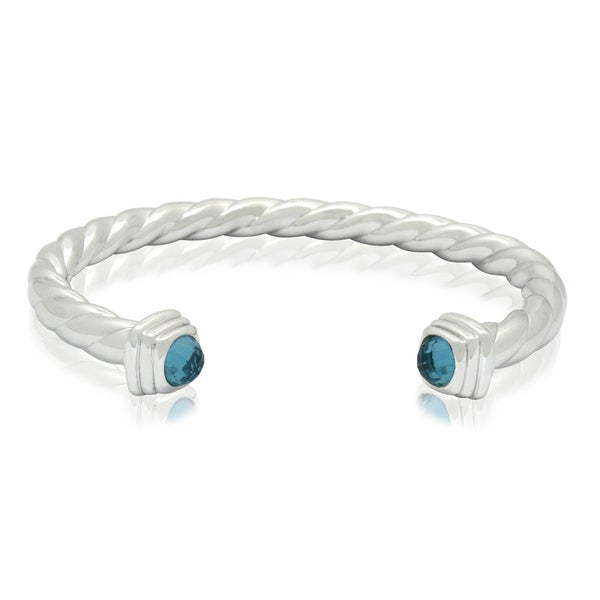 Gioelli Sterling Silver Swiss Blue Checkerboard Topaz Twisted Cuff Bangle Bracelet